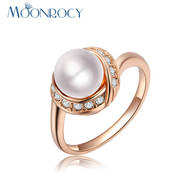 MOONROCY Free Shipping Jewelry Imitation Pearl Crystal Rings Rose Gold Color Wedding Rings for Women Gift Drop Shiping Wholesale