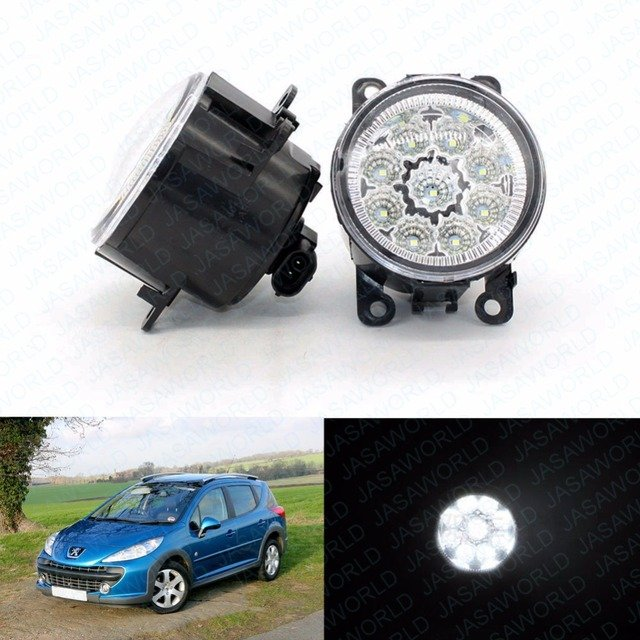 2pcs Car Styling Round Front Bumper LED Fog Lights DRL Daytime Running For Peugeot 207 SW Estate WK_ 2007-2009 2010 2011 2012