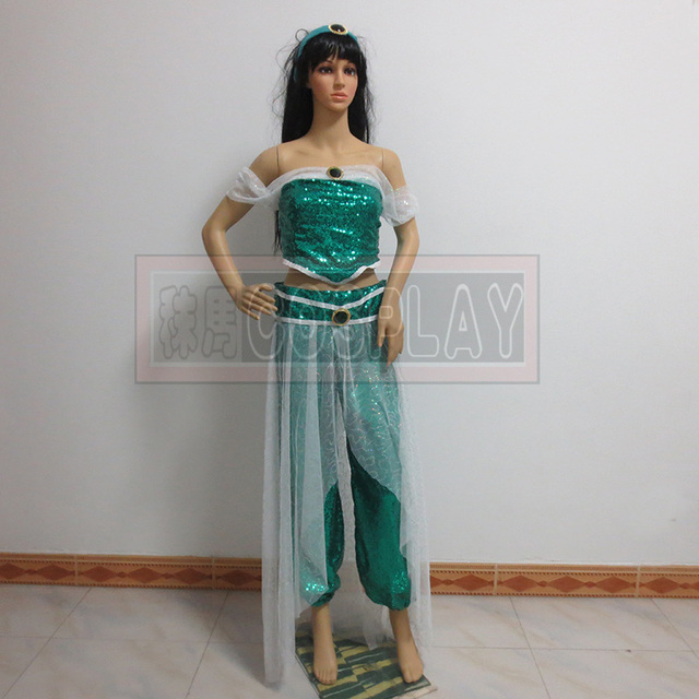 New Arrived  Aladdin Princess Jasmine Dress  Women Cosplay Halloween Jasmine Costume Adult cosplay costumes costom made