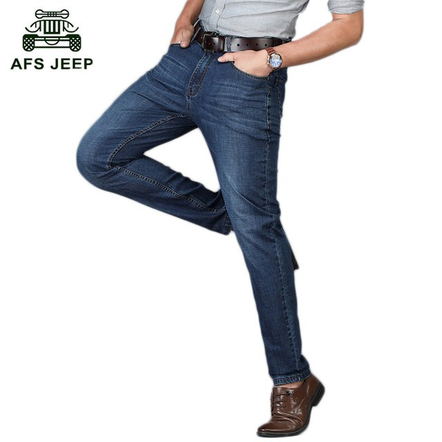 2018 Free Shipping AFS JEEP Brand Men's Jeans Spring and Autumn Straight Loose Men's  Outwear Thin Jeans h71
