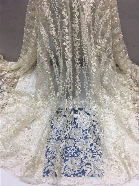 African Material Beaded Lace Fabric For Wedding,Stone Beads White African Lace Fabric 2018 High Quality Lace Gold Royal Blue