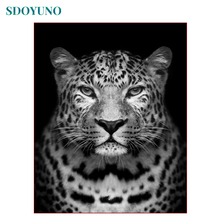 SDOYUNO Black and White Leopard Head Painting By Numbers DIY Gift Frame Paint By Numbers For Adults Home Decoration Wall Art