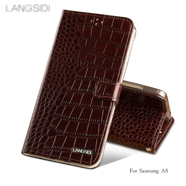 2018 New brand phone case Crocodile tabby fold deduction phone case For Samsung A8 cell phone package All handmade custom