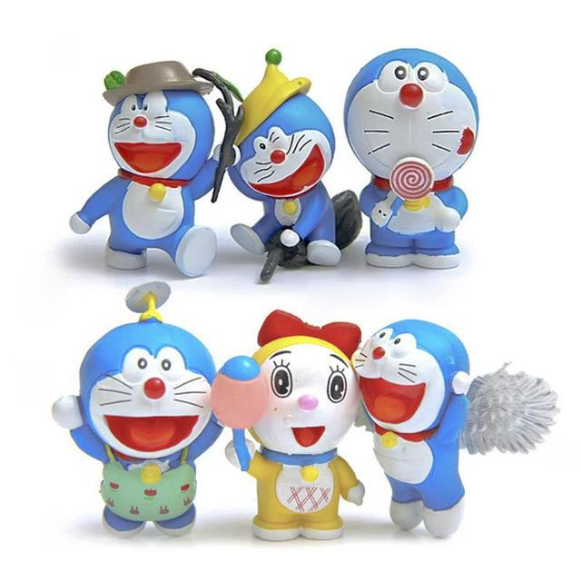 6pcs/lot Doraemon Cute Figures Cute Flying Doraemon Dorami Classic PVC Action Figure Toys Collection Model Toy for Birthday Gift