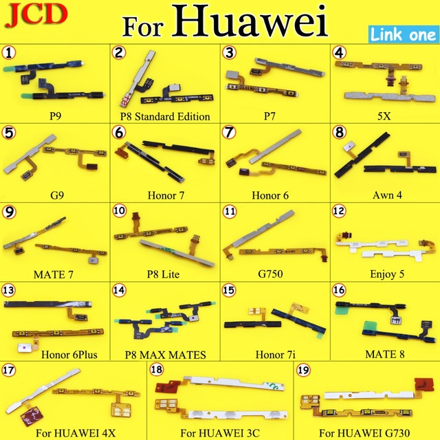 JCD Power On Off Volume Up Down Button Key Flex Cable For huawei P7 P8 P9 Lite Honor 7 7 6 Replacement Part For HUAWEI MATE 7 8