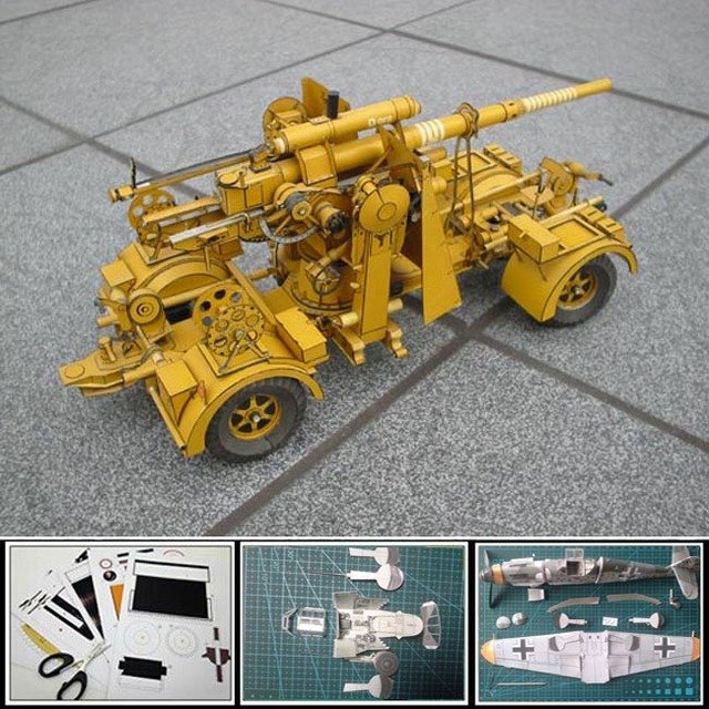 Free shipment Paper Model Tank German 88 mm anti-aircraft guns Truck 1:25 scale simulation Military weapon 3d puzzles papercraft