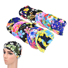 Women Flower Print Swim Hat Floral Swimming Cap Women Ruched Swimming Caps For Long Hair Ear Protection Caps Pool Bathing Hat