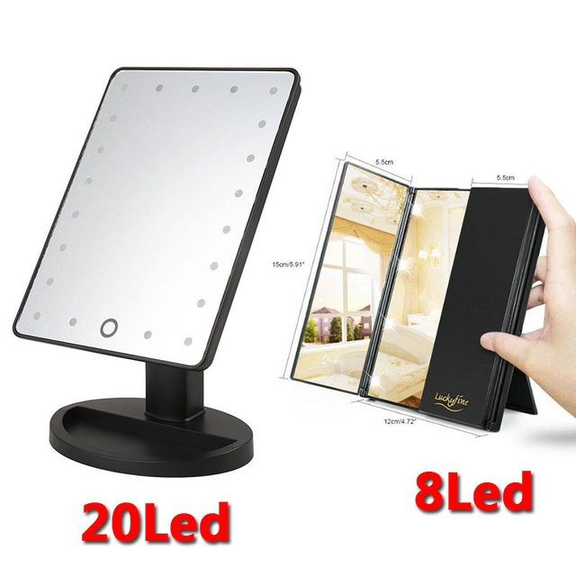 Makeup Mirror with 20 LEDs Cosmetic Mirror Battery Operated Folding Stand for Tabletop Bathroom Bedroom Travel Women Beauty Tool