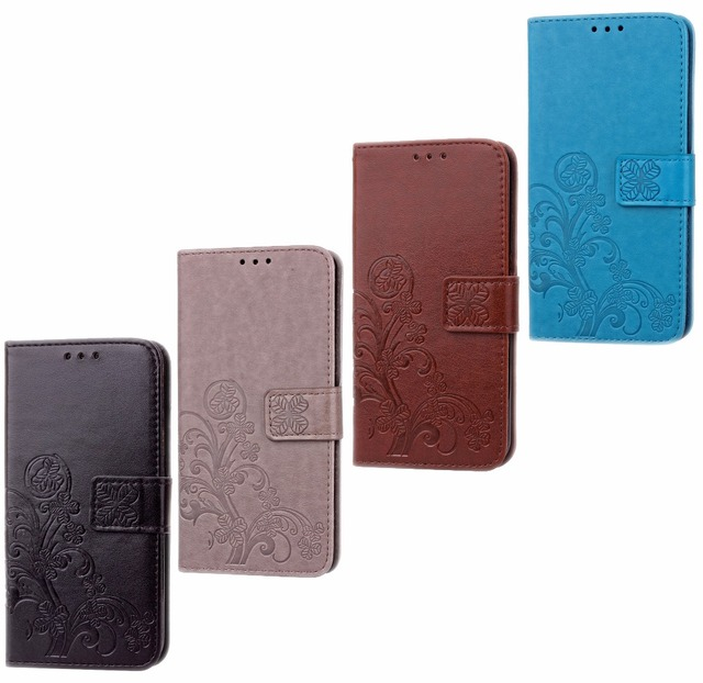 Case For Wiko Ridge Fab Wallet Flower Leather Kickstand Bag Coque Case Cover For Wiko Ridge Fab