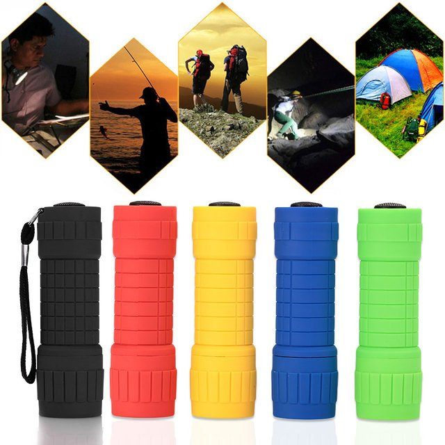 9-LED Flashlight Small Torch Outdoor Travel Camping Hiking Multicolor Optional