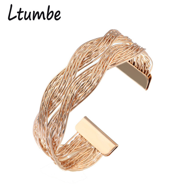 New Fashion Punk Style Gold Silver Color Braided Bangles for Women Cross Multi-layer Wide Wristband Bracelets & Bangles Jewelry