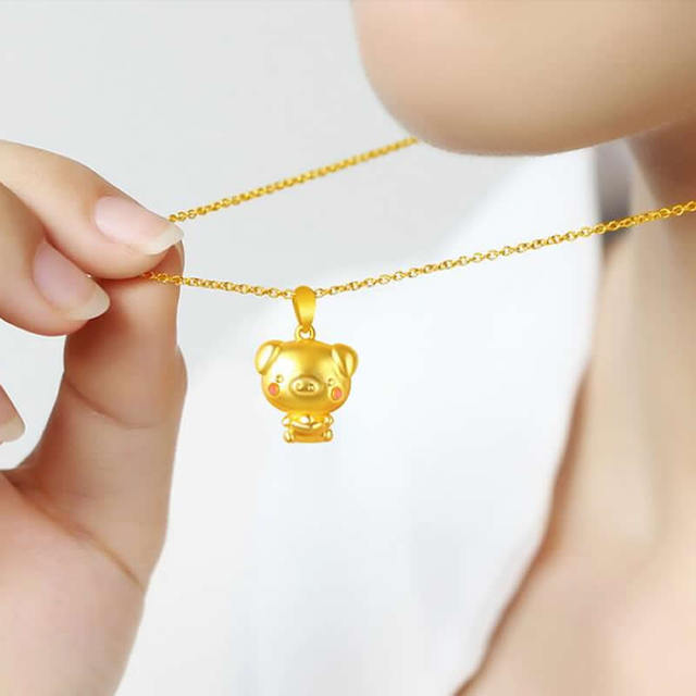 New Arrival  Pure 24K Yellow Gold Pendant Women 999 Gold YuanBao Pink Pig Pendant 2.29g