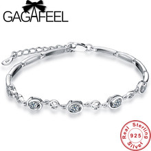 GAGAFEEL Genuine 925 Sterling Silver Floral Charm Bracelets Bling Crystal Bracelet Chains for Women's Christmas Jewelry Gift