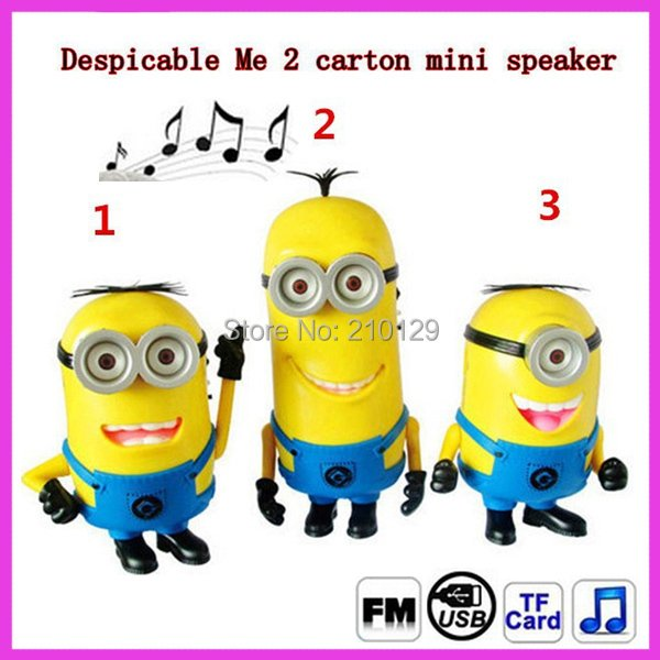 Mini cartoon speaker Despicable Me Minion speaker portable subwoofer amplifiers with USB& TF card Slot FM radio