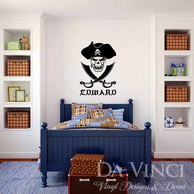 Personalized Name Pirate Skull Cross Swords Vinyl Sticker Wall Decal Decoration