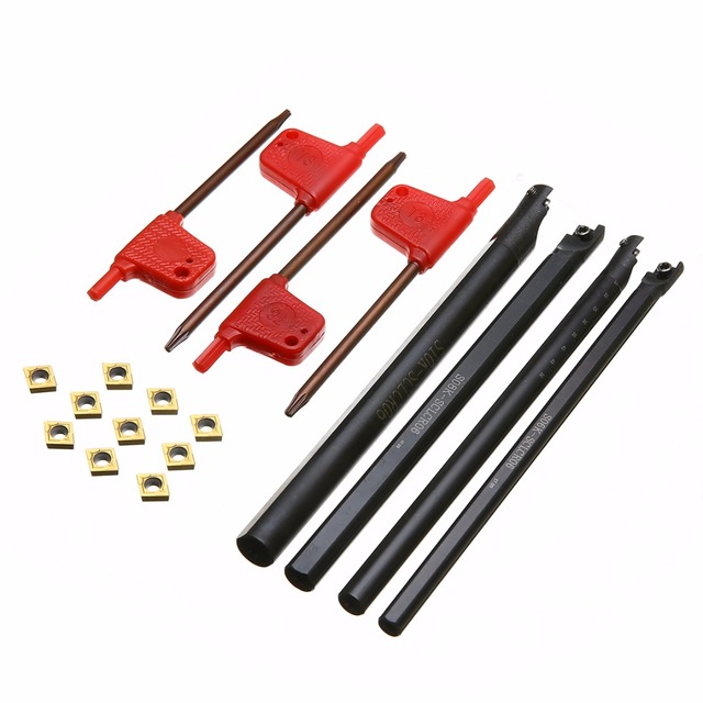 7//10//12mm SCLCR06 Lathe Turning Tool Holder Boring Bar With 10x CCMT0602 Inserts