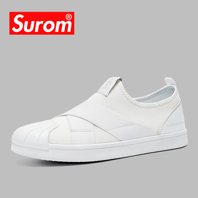 SUROM 2019 Men's Casual Shoes Luxury brand Designer Slip on Sneakers Breathable Mesh Male Shoes Lightweight Masculino Esportivo