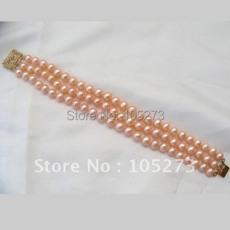 Stunning 3Rows AA 7-8MM Round Pink Freshwater Cultured Pearl Bracelet Fashion Pearl Jewelry 8inch Wholesale New Free Shipping