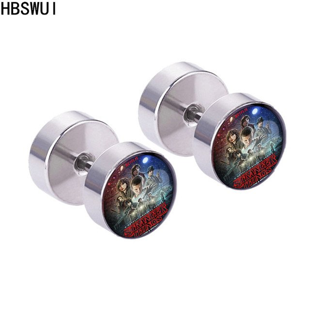HBSWUI Stranger Things Stud Earring High Quality Classic TV Movie Anime Metal Fashion Jewelry Cosplay Girls Men Gifts