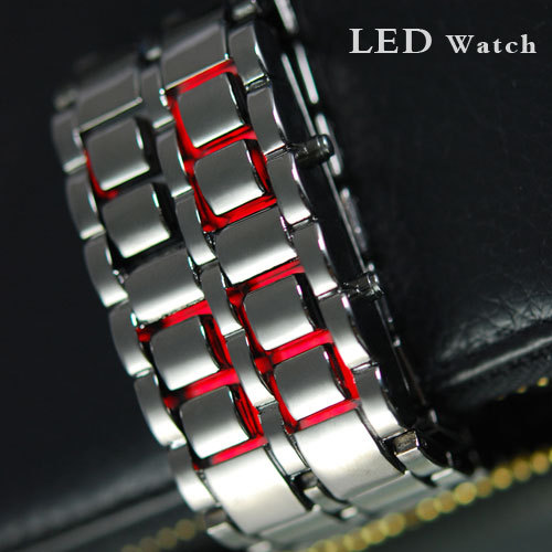 Standing at the tip of the tide full steel Iron Samurai - Japanese Inspired Red LED Watch