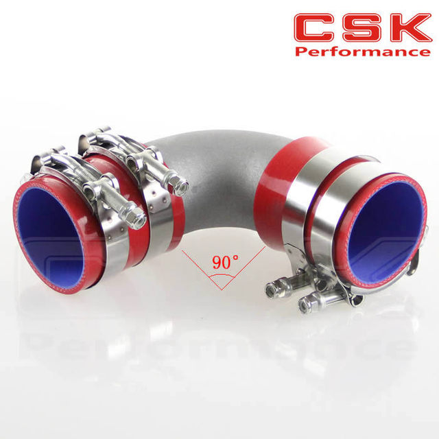 """76mm 3"""" Cast Aluminum 90 Degree Elbow Pipe Turbo Intercooler+ silicone hose kit RED"""