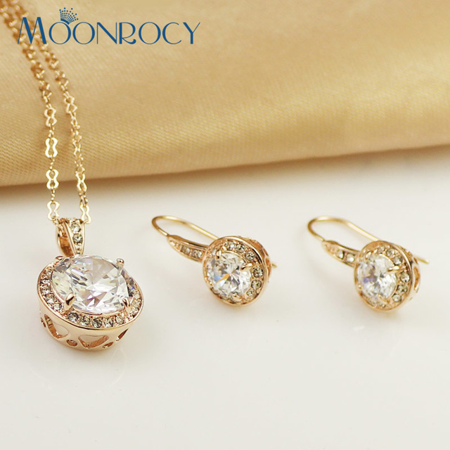MOONROCY Free Shipping Fashion jewelry rose Gold Color Cubic Zirconia Crystal Necklace and Earring Jewelry Set For women
