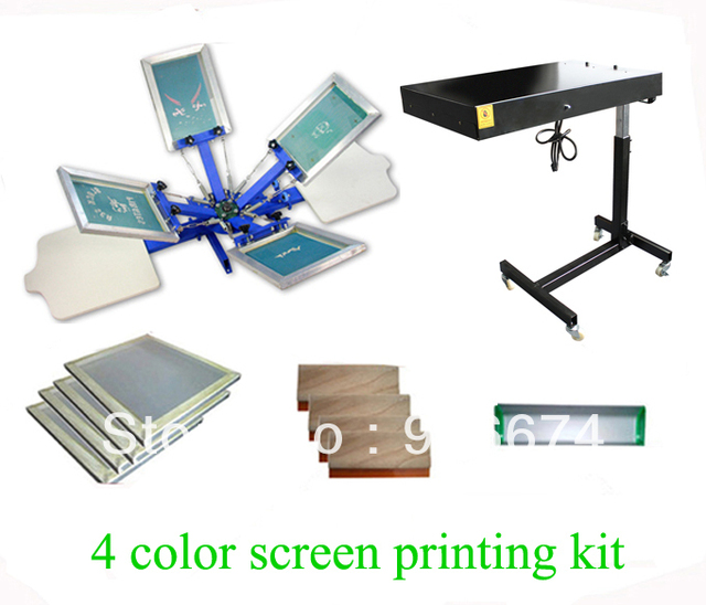 FAST and FREE shipping! 4 color 2 station silk screen printing kit with flash dryer t-shirt printer stretched frame squeegee