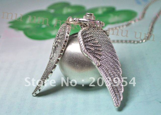 Free Shipping Wholesale Steel 10pcs/lot Ball Wings Vintage Quartz Pocket Watches For Lady Mens Womens Necklaces Pendants Watch