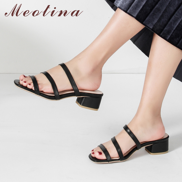 Meotina Summer Slippers Women Shoes Natural Genuine Leather Chunky Heels Shoes Cow Leather Open Toe Slides Lady Sandals Size 43