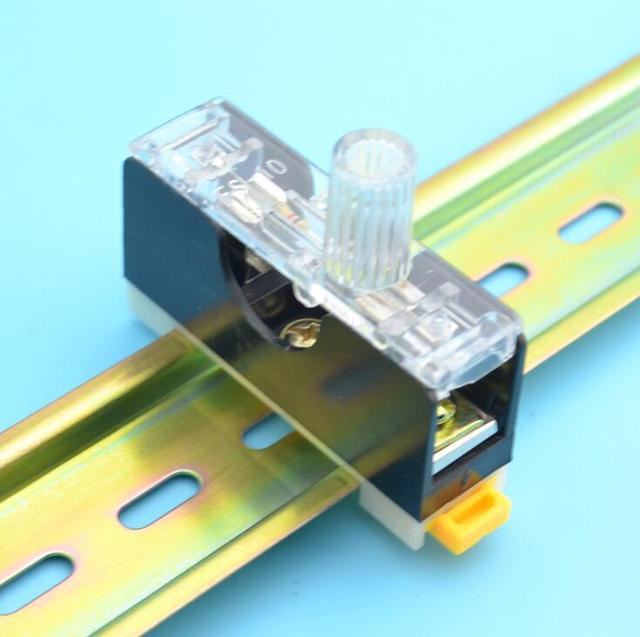 2pcs 35MM DIN Rail 6x30mm glass fuse holder Single guide fuse box with 10A fuse