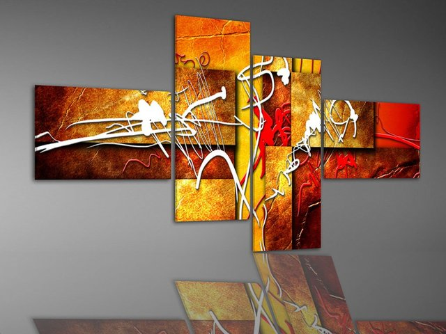 hand-painted wall art Warm color red  white fly line home decoration abstract oil painting  4pcs/set framed ready to hang