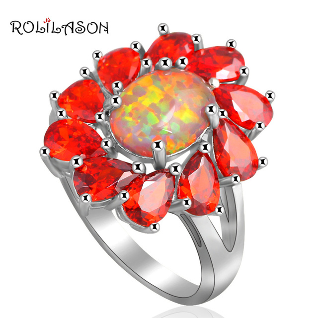 ROLILASON flower design Orange Zircon Inlay  jewelry for women Orange fire Opal silver plated Rings USA size #6#7#8#9#10 OR670