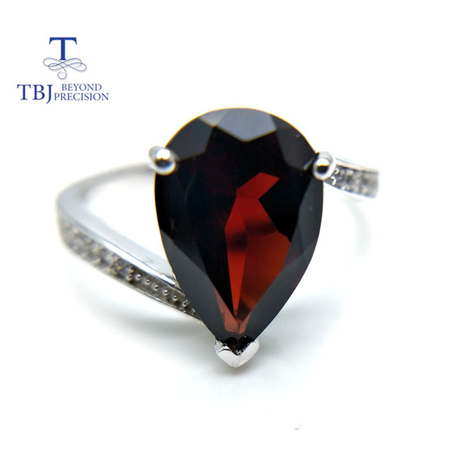 TBJ,Classic simple natural Mozambique garnet pe 8*12mm gemstone Ring 925 sterling silver fine jewelry for women daily wear gift