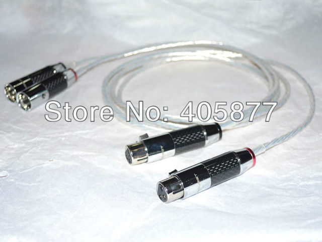 Hi-End silver plated XLR AUDIO CABLE 1m with carbon fiber xlr connector cable