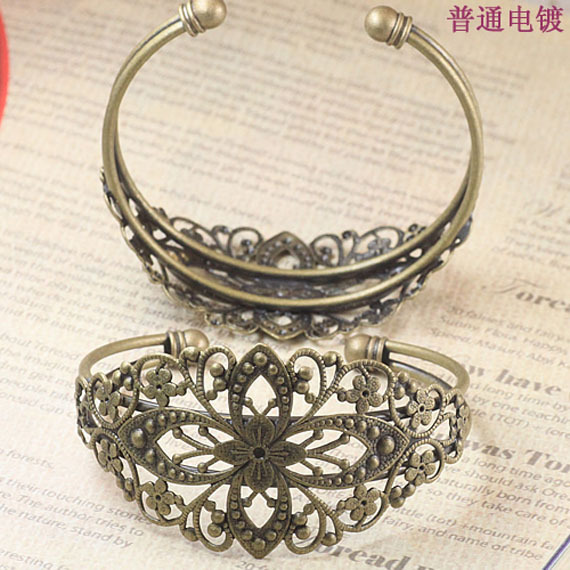 50pcs Diameter 63mm Filigree Antique bronze brass metal Jewelry Bangle Cuff Bracelet Base Blank Tray Bezel