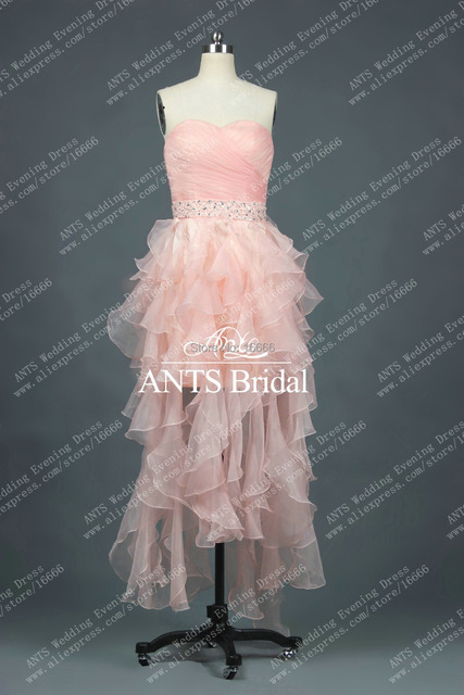 Elegant Fashion Organza With Beading Elegant Ruffle Sweetheart Pink Cocktail Dress FB335