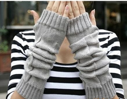 2016 women girls Korea trend long Knitted Fingerless Gloves Arm Warmers 24pairs/lot mixed colors #3900
