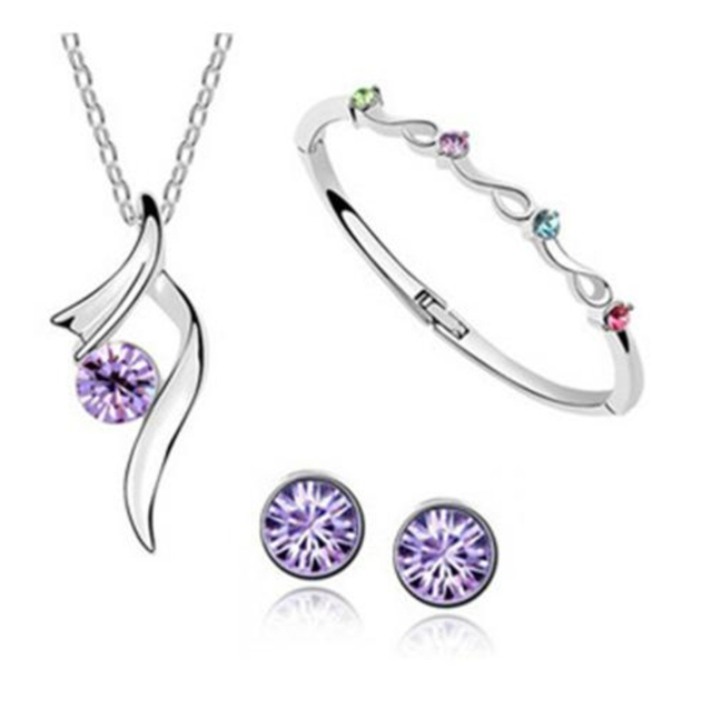 2017 unique designs Angel wing necklace earrings bangle bridal jewelry set crystals from Swarovski mother's Day Lovers Gift