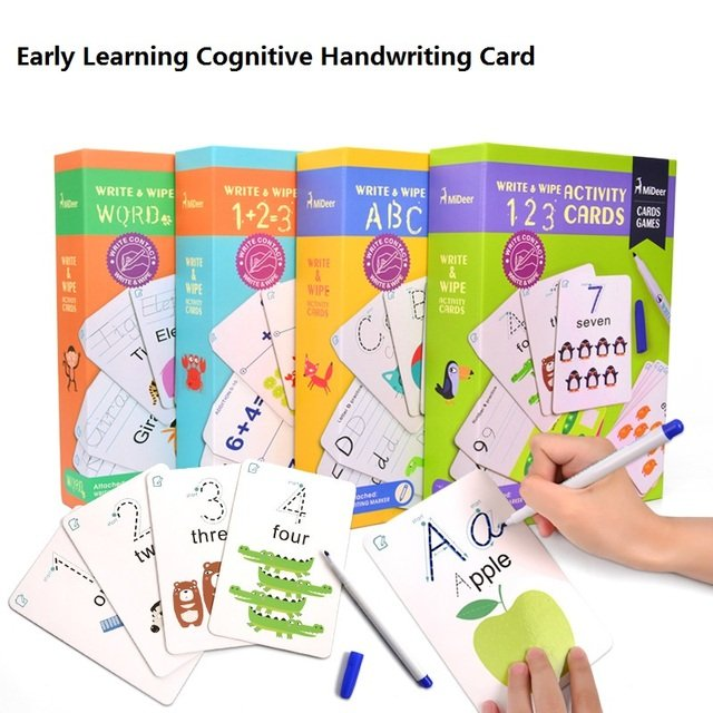 Write Alphabet Words Math Kids Activity Writing Cards Game Learning Educational Toy Erasable Repeated Practice for Children Gift
