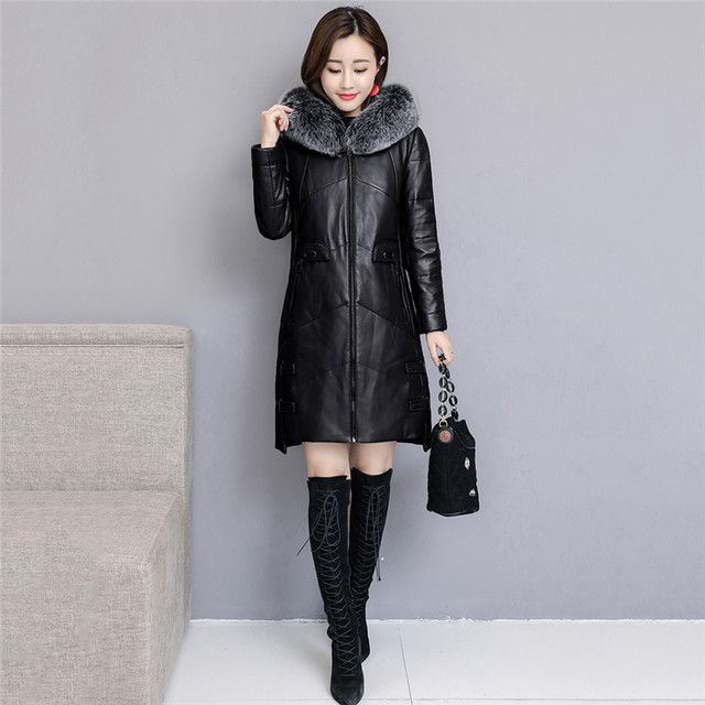 Women Leather Down Jacket Winter Parkas 2018 New Fashion Sheep Leather Coats Long Hooded Fox Fur Collar Winter Female Outerwear
