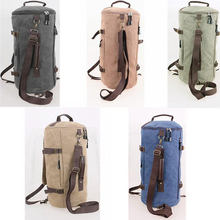 2019 New Vintage Canvas Bags Travel Totes Bags Large Capacity Male Backpack Female Portable Bag High Quality Cylinder Backpack