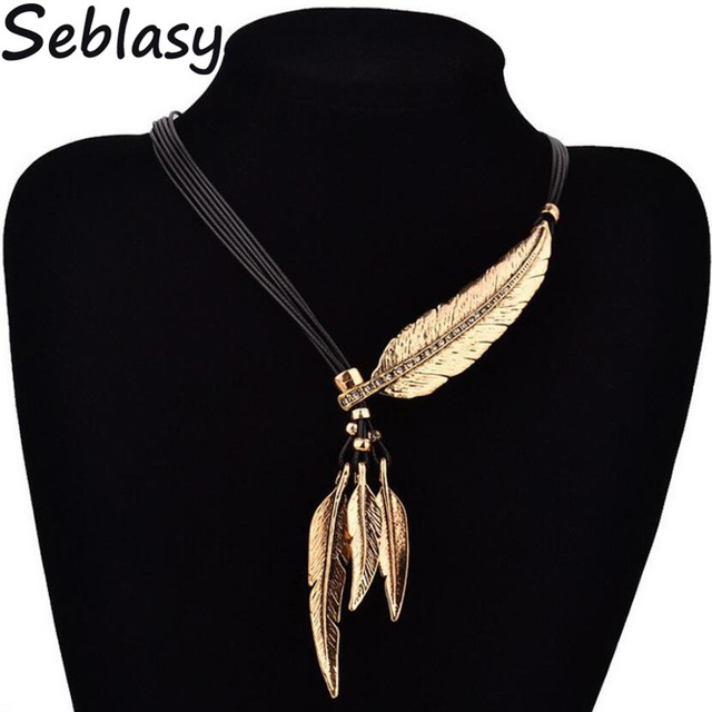 Seblasy Vintage Bohemian Multi Layer Black Rope Chain Big Crystal Leaf Statement Necklaces & Pendants for Women Jewelry