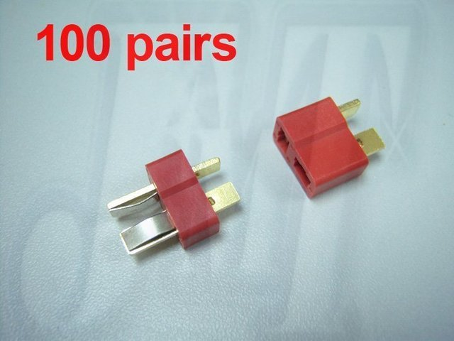 F00152-100, 100Pairs Dean Connector T plug For Rc Helicopter ESC Lipo Li-po Battery