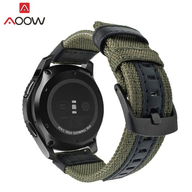 AOOW Nylon Leather 22mm Watchband for Samsung Gear S3 Classic Frontier Ticwatch Huami Quick Release Strap Band Smart Watch Strap