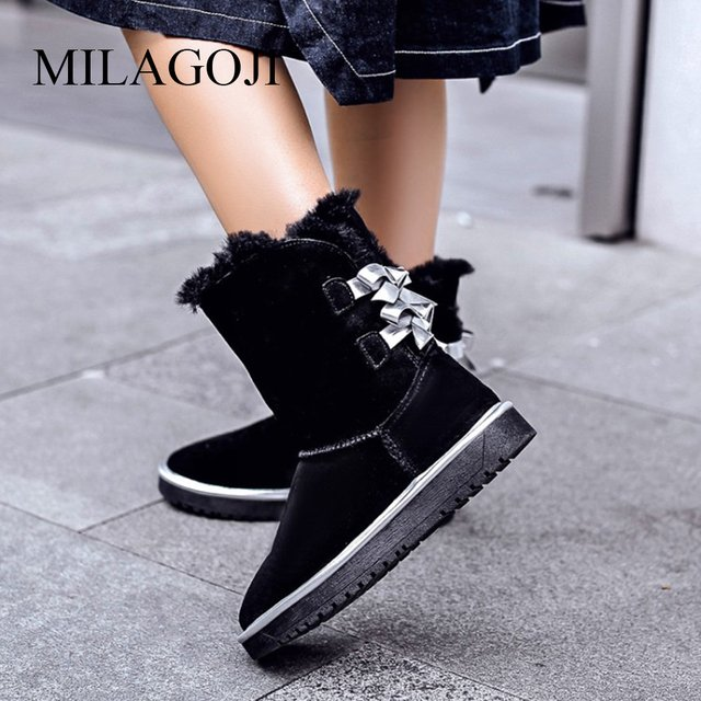 2018 Winter Women Shoes Riband Warm Snow Boots Plush Warm Shoes MILAGOJI Size 35 To Big 42 Real Fur Boots Long Plush Black Pink