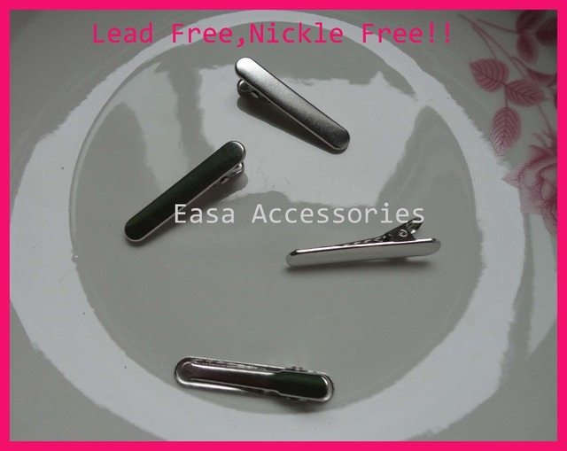 "50PCS silver 8mm*3.8cm 1.5"" Baguette Shape plain Metal Alligator Clips slim oval hair clips barrette Lead free and Nickle free"