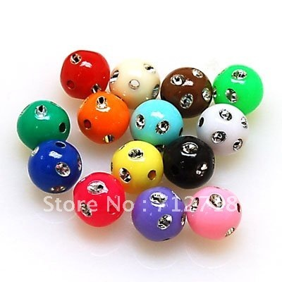Beads,loose beads,8mm silver accent round,random mixed color , sold of 1200pcs (Min Order $20)