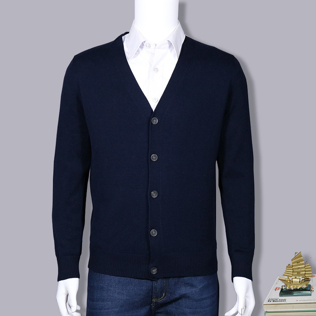 Factory direct sale cultivate one's morality men's knit cardigan long-sleeved v-neck leisure solid color sweater coat