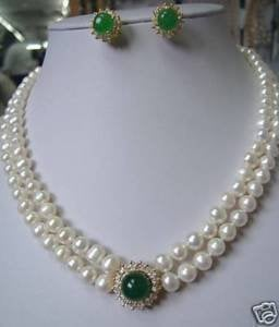 Noblest Jewelry Stunning white Pearl necklace green gem earring Wonderful Nobility Fine Wedding Jewelry Lucky Women's 925