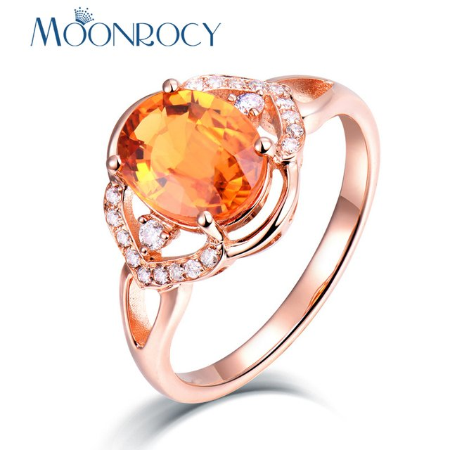MOONROCY CZ Orange Crystal Rings Rose Gold Color Party Wedding Ring Jewelry for Women Girls Gift Drop Shipping Wholesale